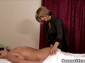 Transsexual masseuse fucking clients pussy